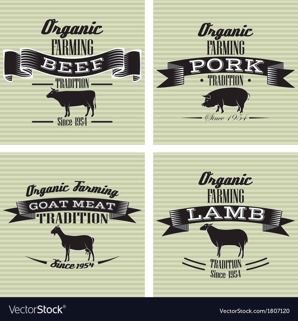 Icons on vintage background pig cow sheep goat vector | Price: 1 Credit (USD $1)