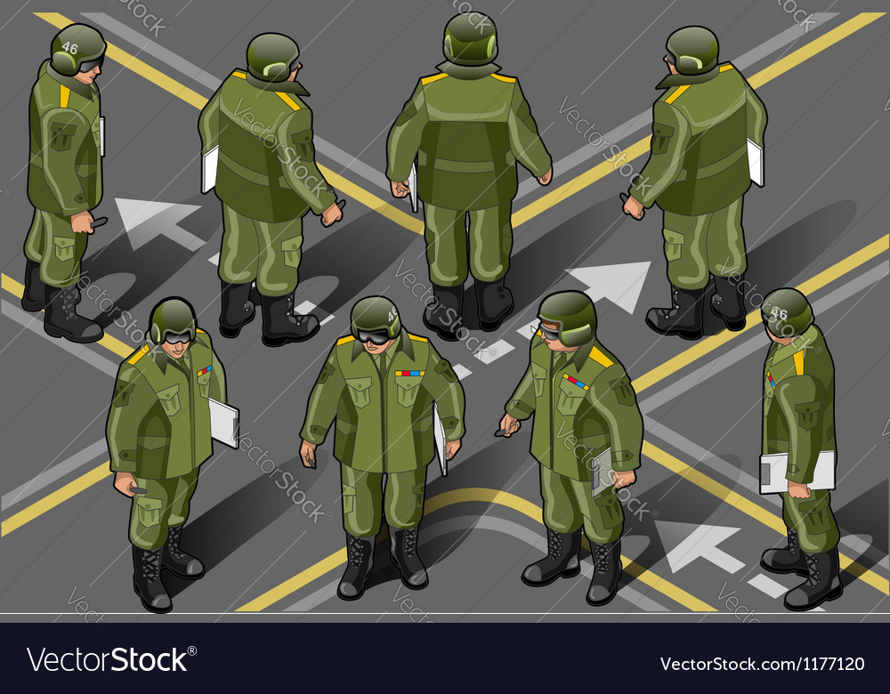 Isometric set of military man in eight position vector | Price: 5 Credit (USD $5)