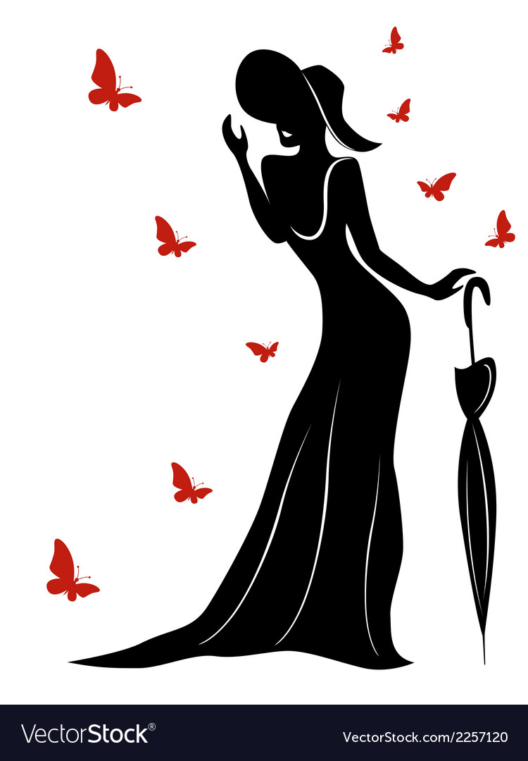 Lady in long gown and hat with umbrella vector | Price: 1 Credit (USD $1)