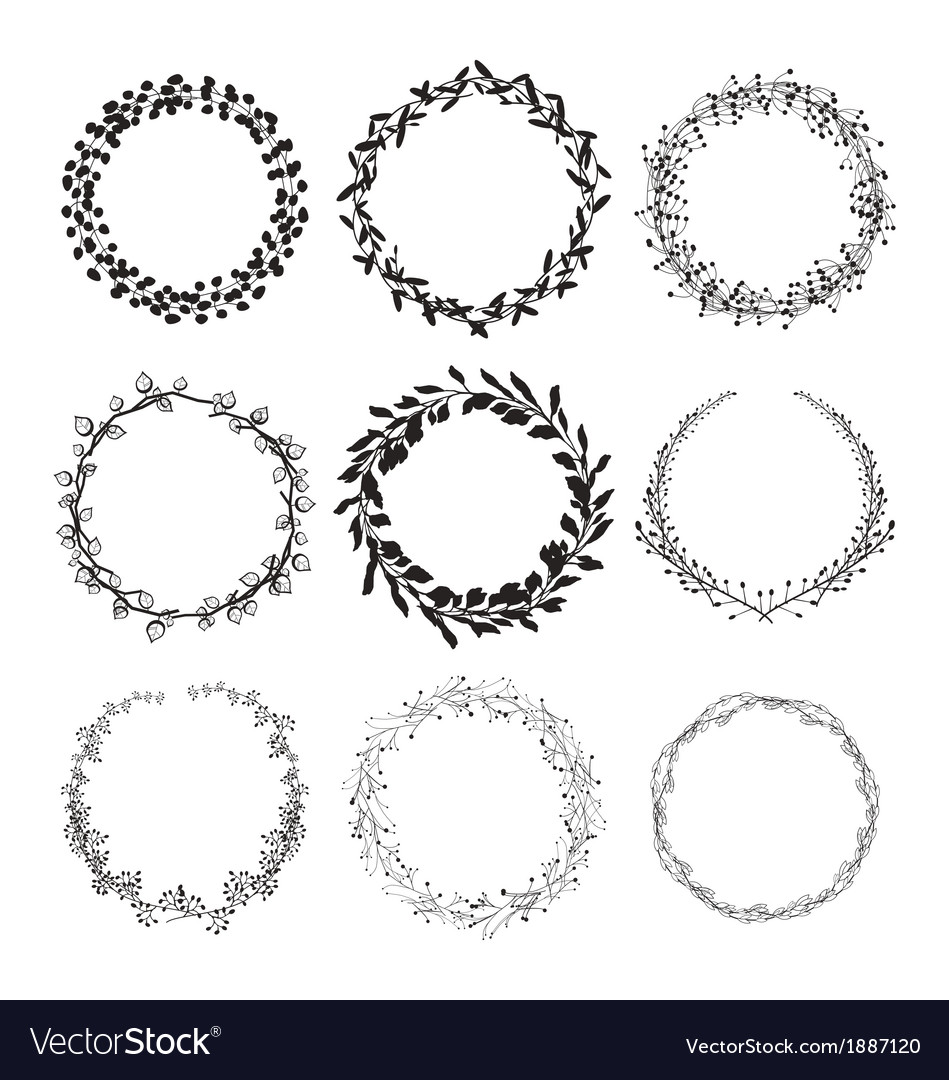Laurel wreaths isolated vector | Price: 1 Credit (USD $1)