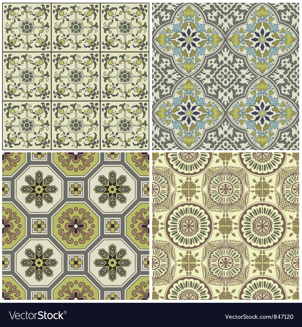 Seamless vintage background collection vector | Price: 1 Credit (USD $1)