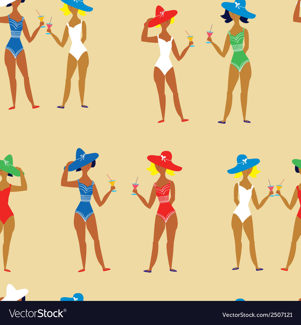 Beach girl and cocktails funny seamless pattern vector | Price: 1 Credit (USD $1)
