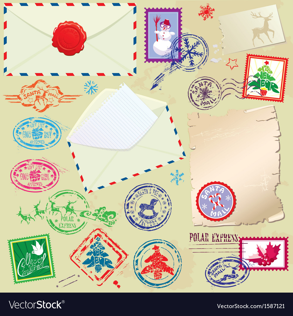 Collection of christmas stamps envelops labels vector | Price: 1 Credit (USD $1)