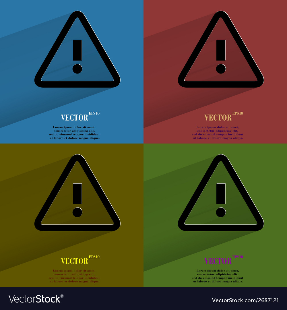 Color set danger exclamation mark flat modern web vector | Price: 1 Credit (USD $1)
