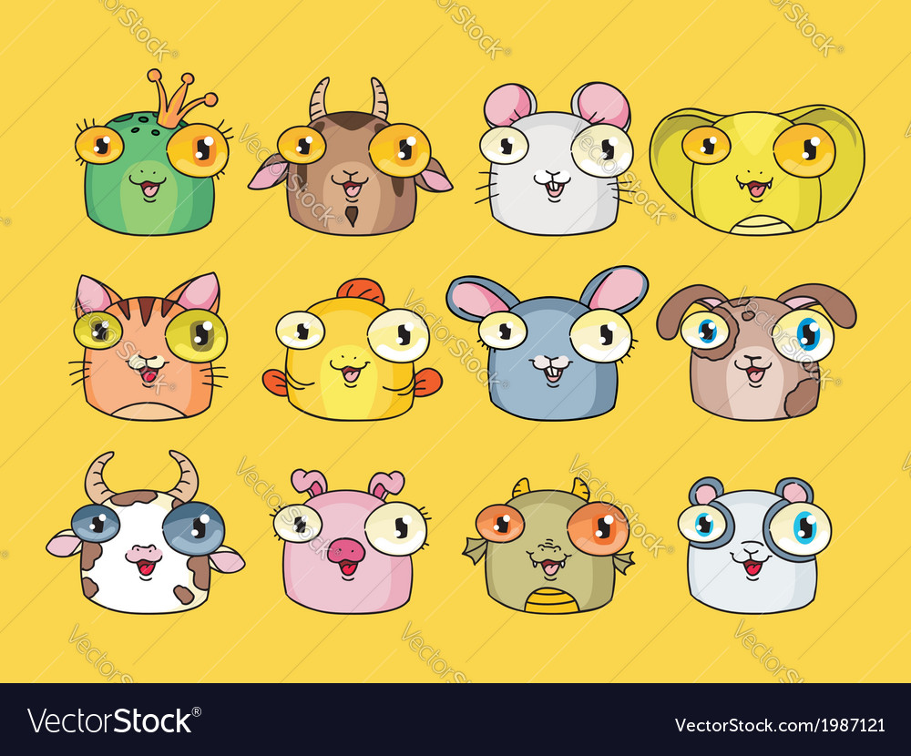 Cute animal set vector | Price: 1 Credit (USD $1)