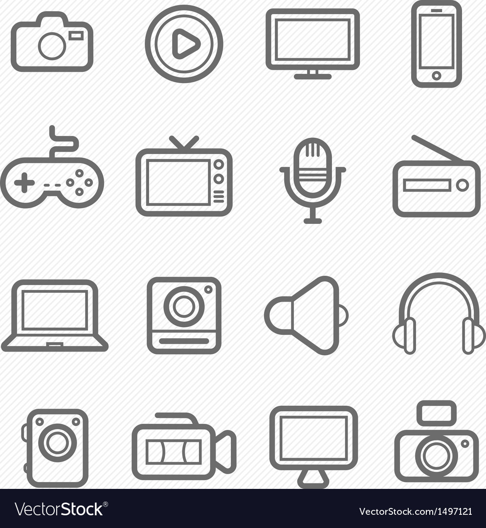 Device and multimedia symbol line icon vector | Price: 1 Credit (USD $1)