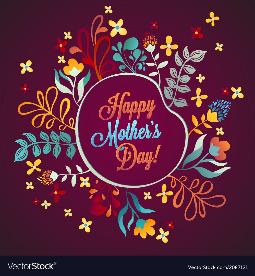 Happy mothers day flowers pattern decorative vector | Price: 1 Credit (USD $1)