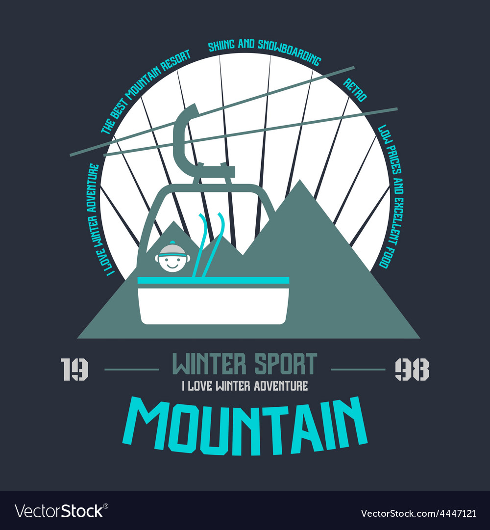 Mountain winter sport emblem vector | Price: 1 Credit (USD $1)