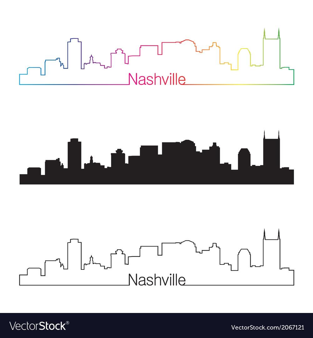 Nashville skyline linear style with rainbow vector   Price: 1 Credit (USD $1)