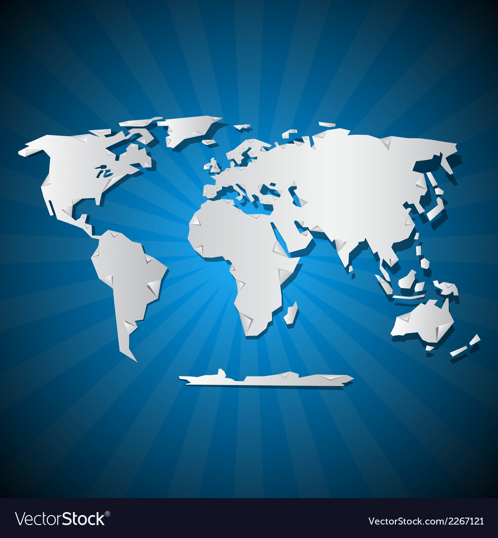 Paper world map on blue background vector | Price: 1 Credit (USD $1)