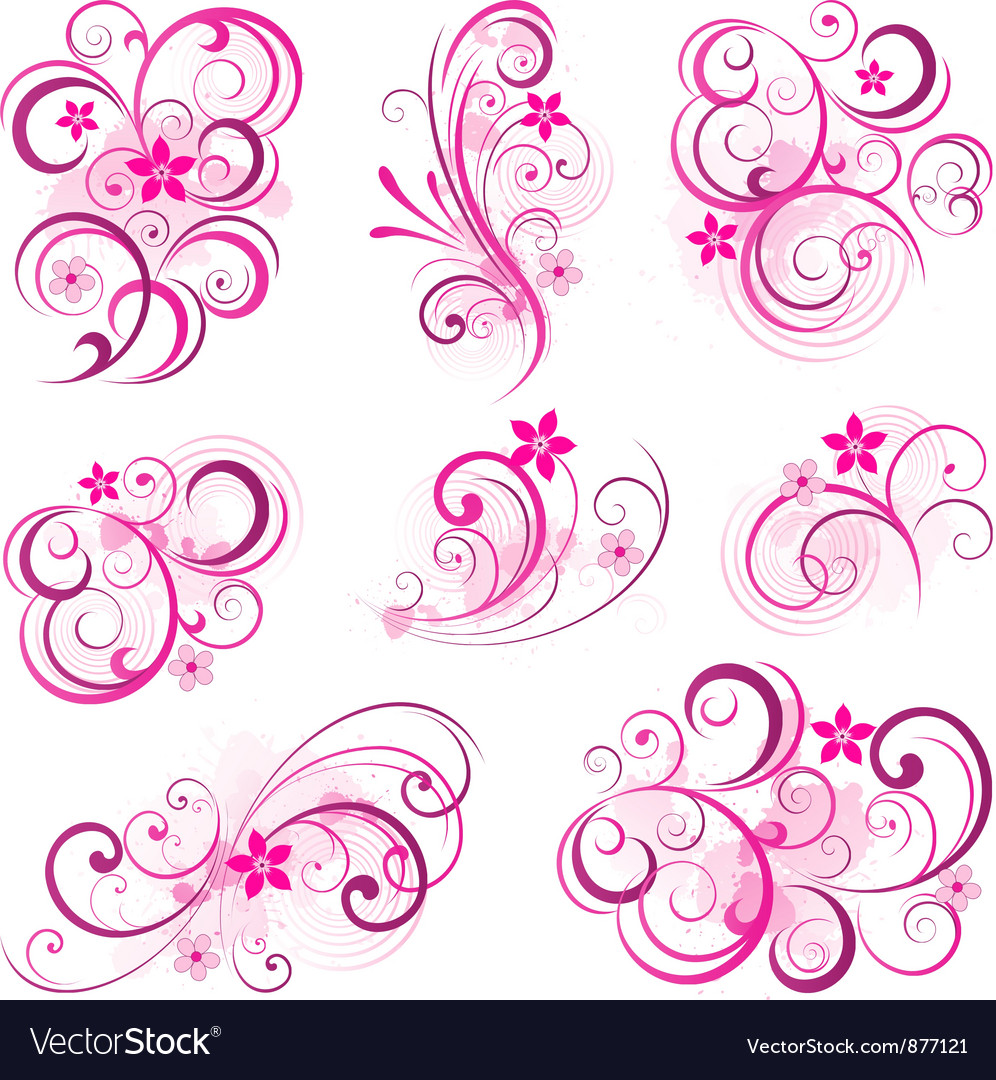 Pink abstract scroll flowers background vector | Price: 1 Credit (USD $1)