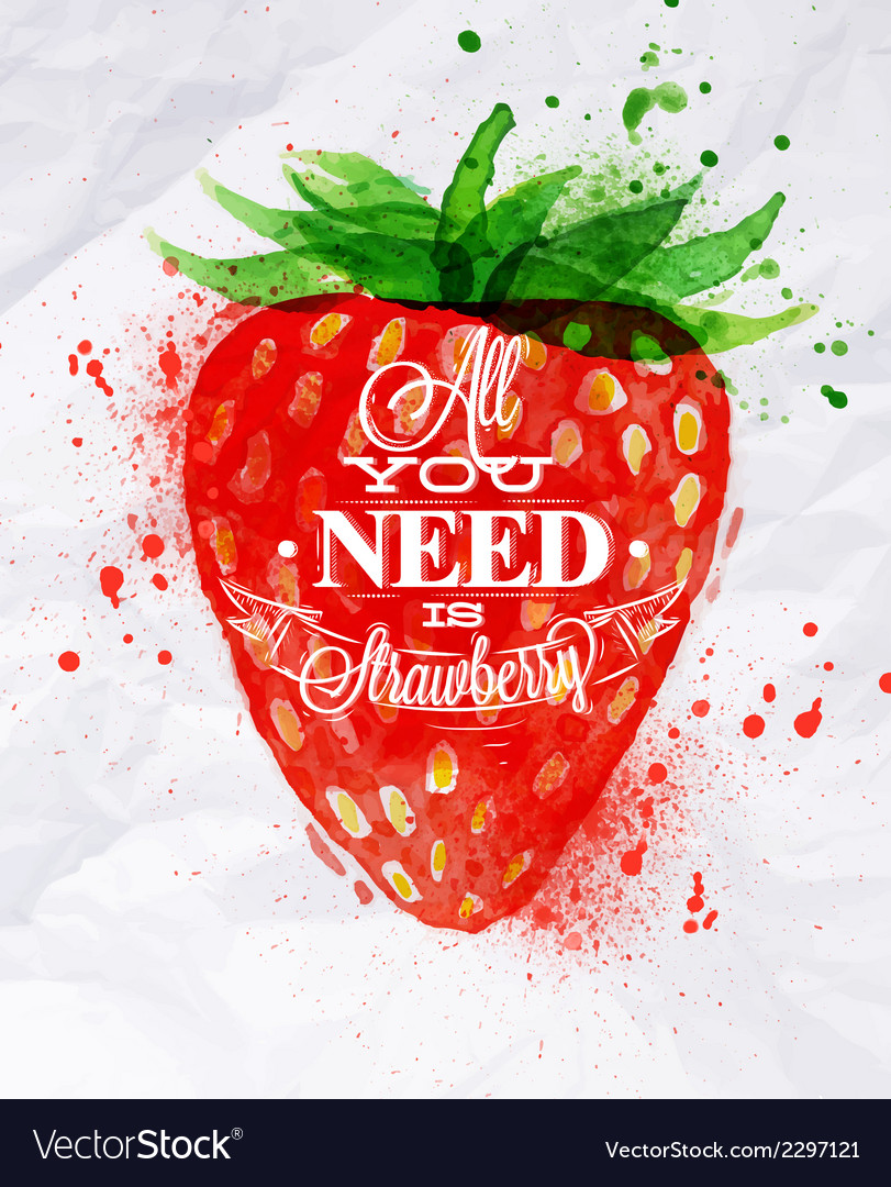 Poster watermelon strawberry vector | Price: 1 Credit (USD $1)