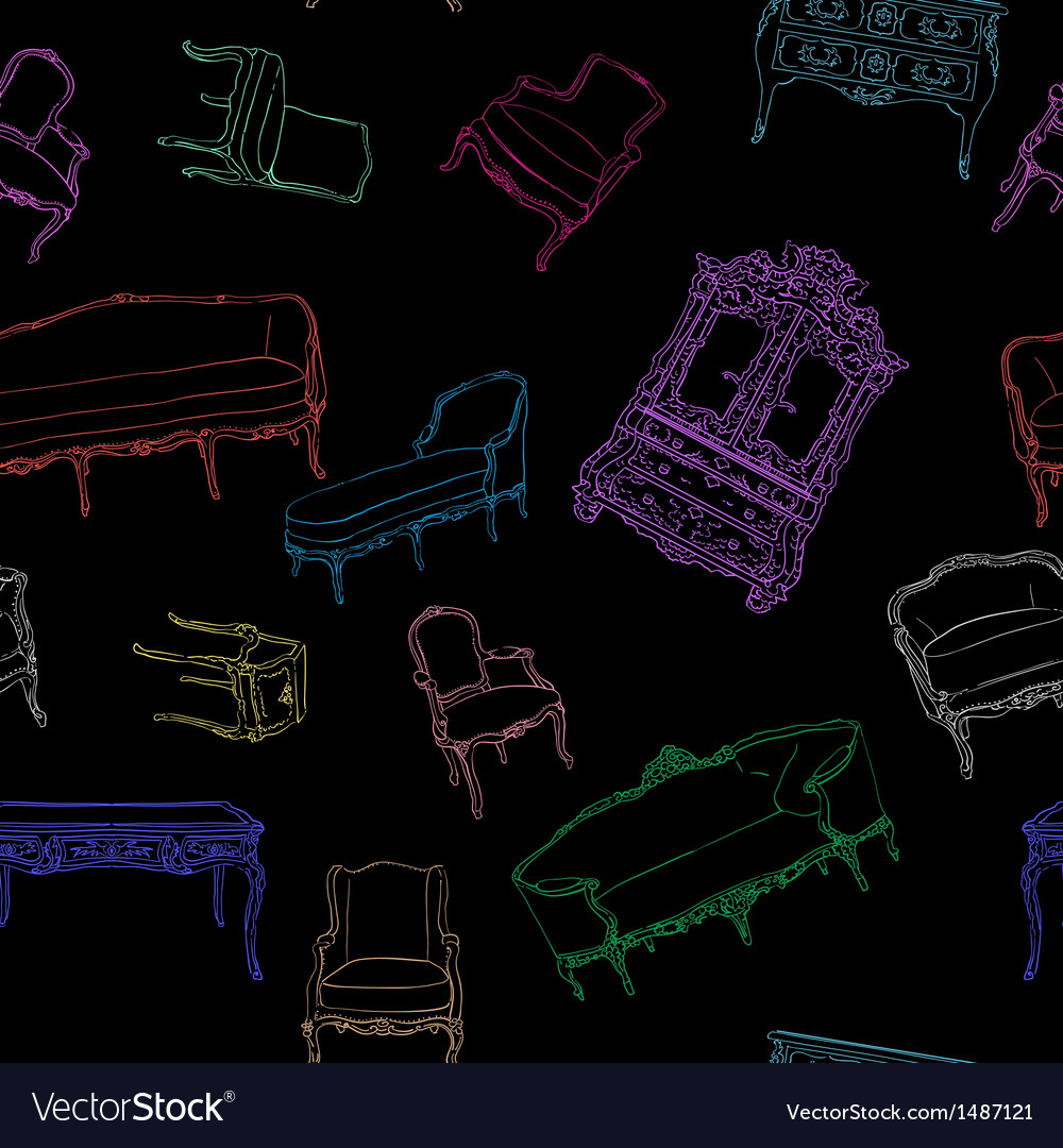 Rococo furniture pattern on black vector | Price: 1 Credit (USD $1)