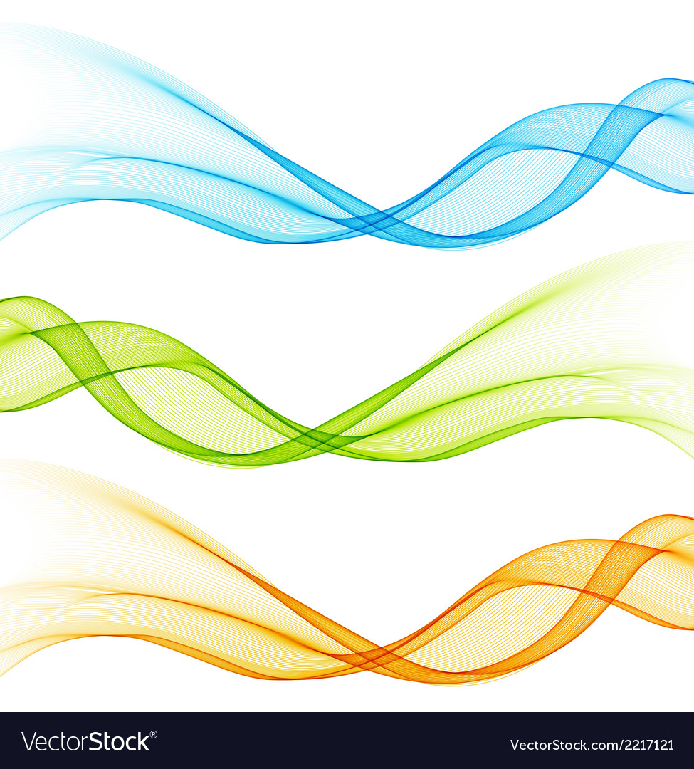 Set of color curve lines design element vector | Price: 1 Credit (USD $1)