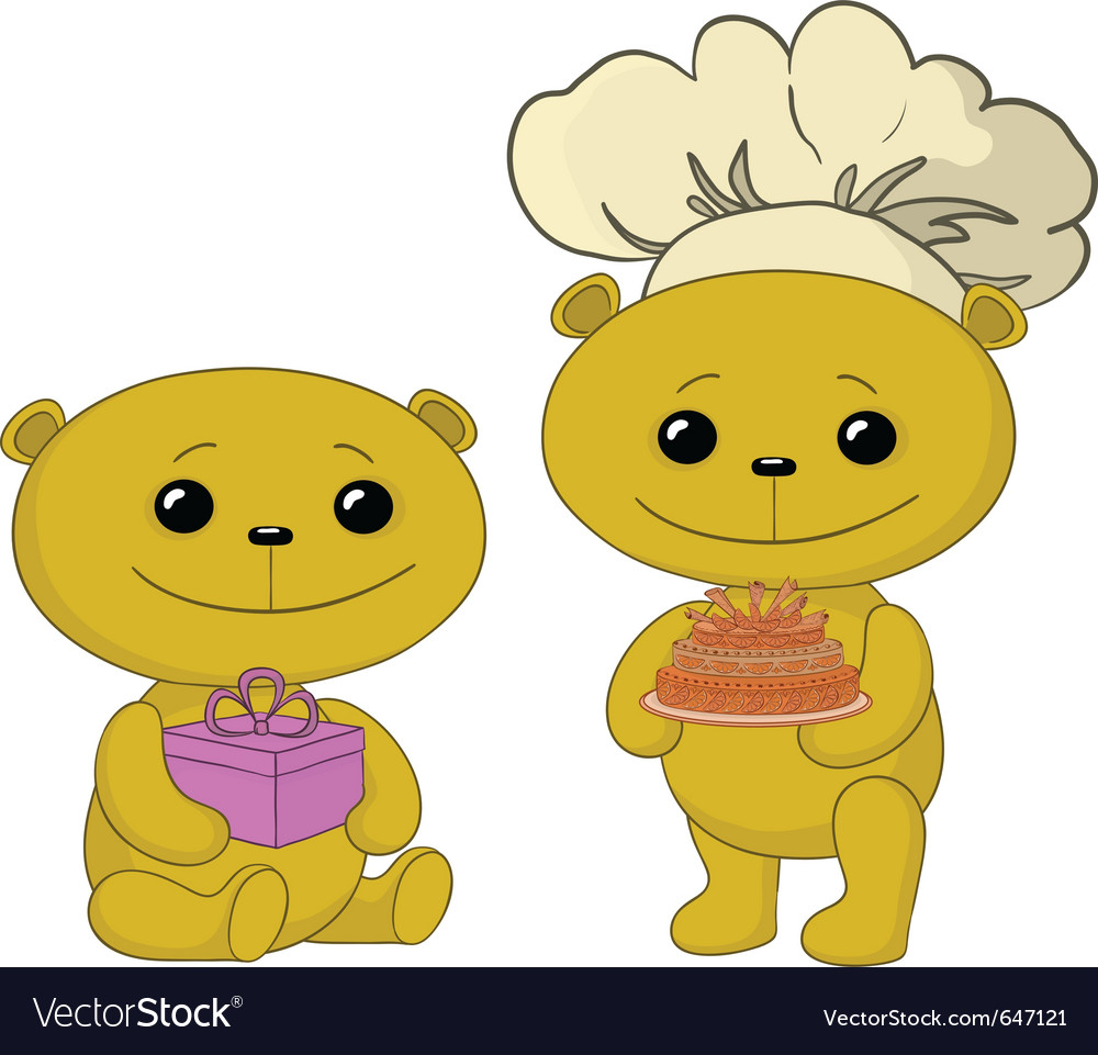 Teddy bears with cake and gift box vector | Price: 1 Credit (USD $1)