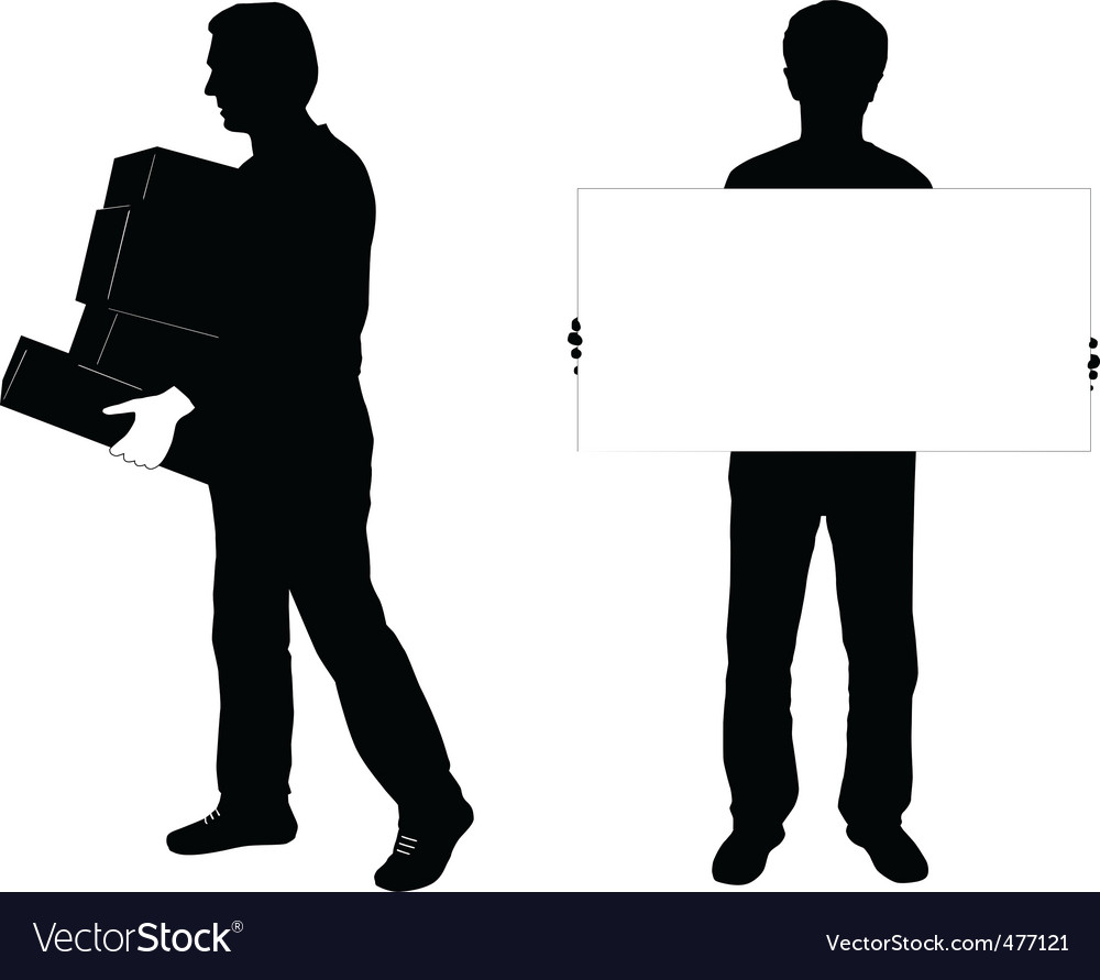 Two men silhouettes vector | Price: 1 Credit (USD $1)