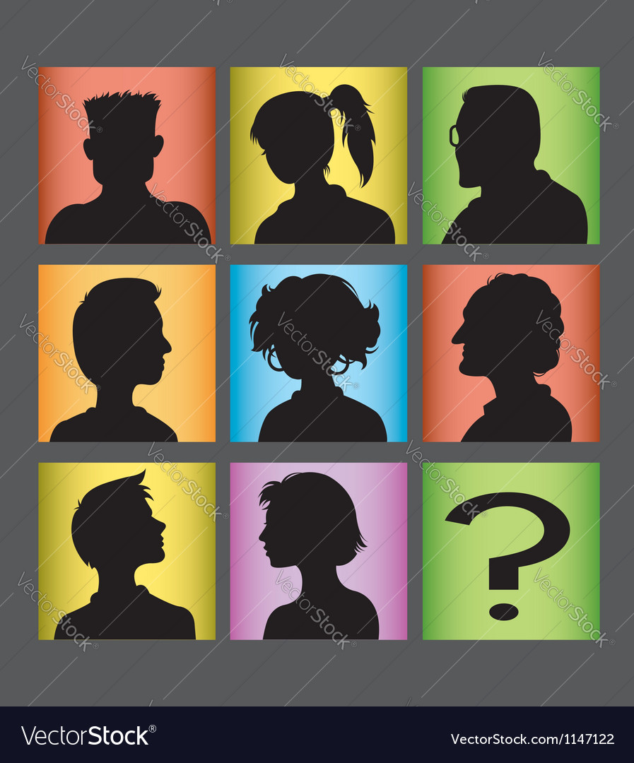 Avatars people character silhouette vector | Price: 1 Credit (USD $1)