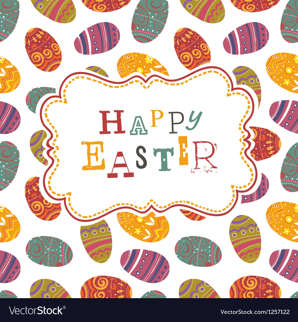 Easter greeting on seamless eggs pattern vector | Price: 1 Credit (USD $1)