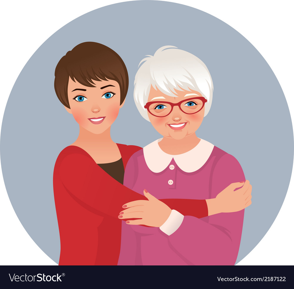 Elderly mother and adult daughter vector | Price: 1 Credit (USD $1)