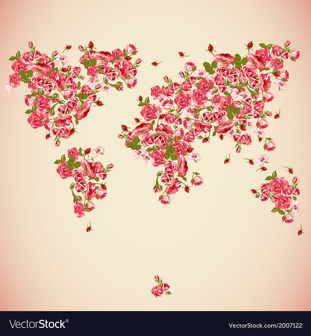 Flower world map eco abstract background vector | Price: 1 Credit (USD $1)