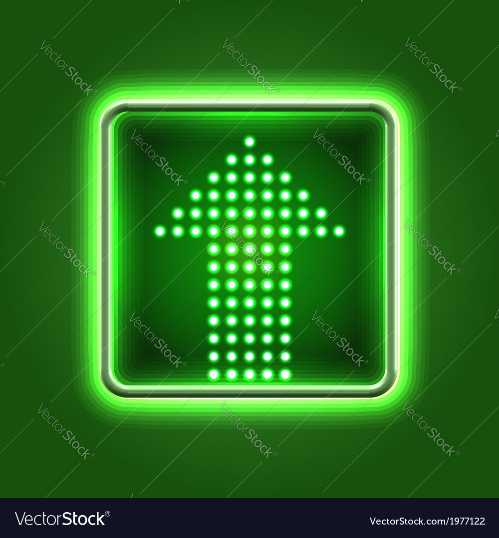 Green arrow neon icon vector | Price:  Credit (USD $)