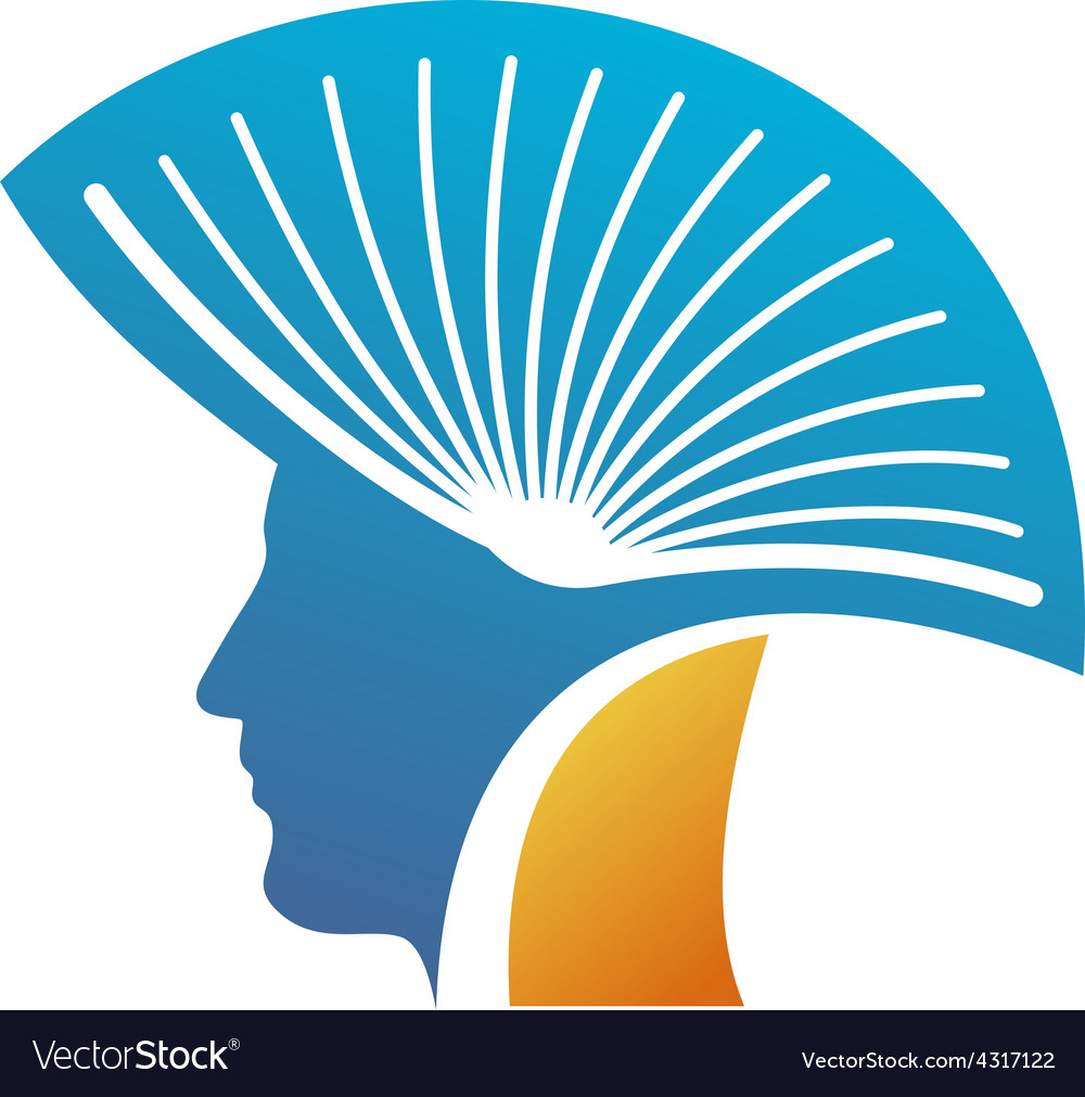 Head of the man with open book as a mohawk logo vector | Price: 1 Credit (USD $1)