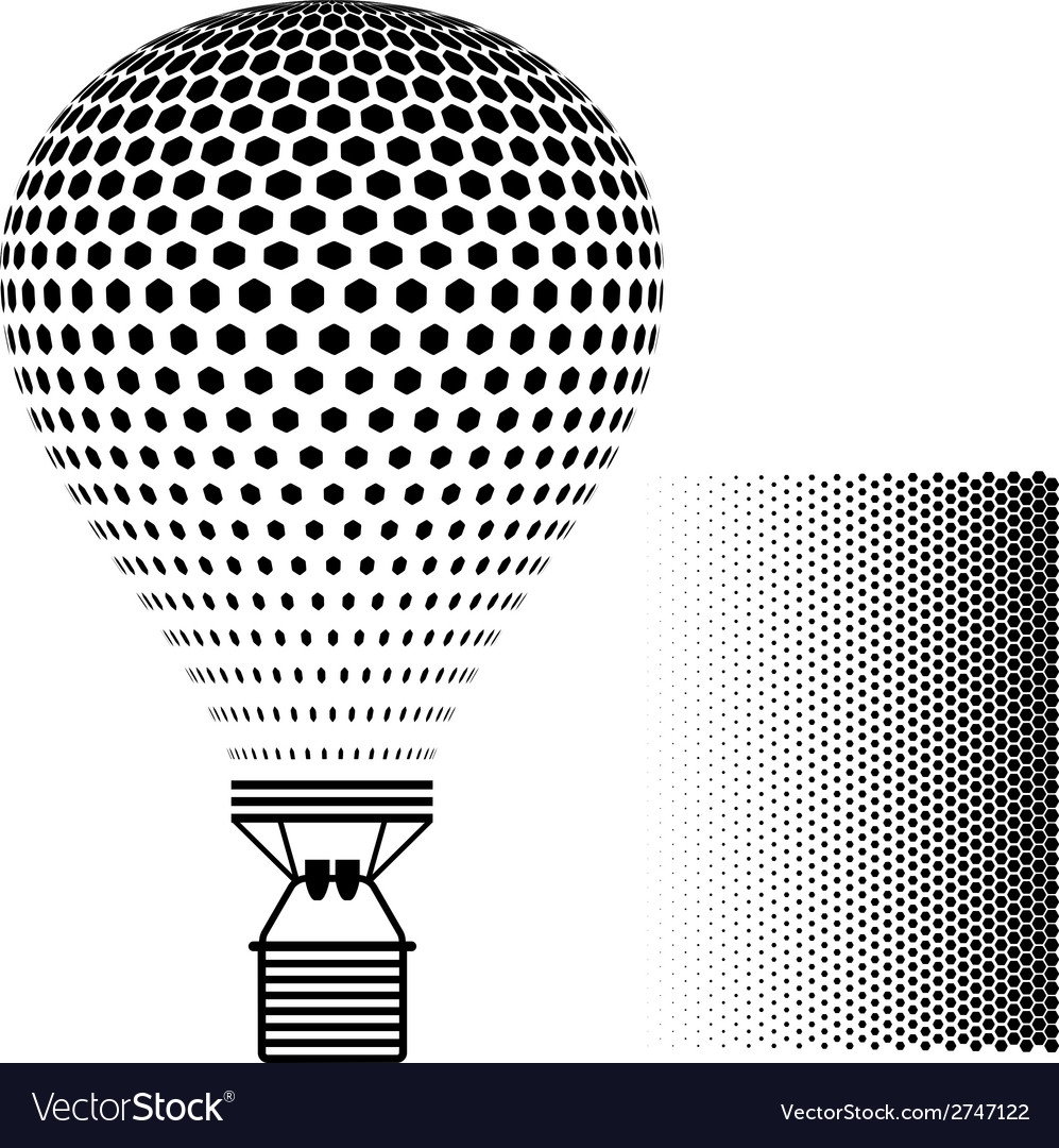 Hot air balloon black silhouette vector | Price: 1 Credit (USD $1)