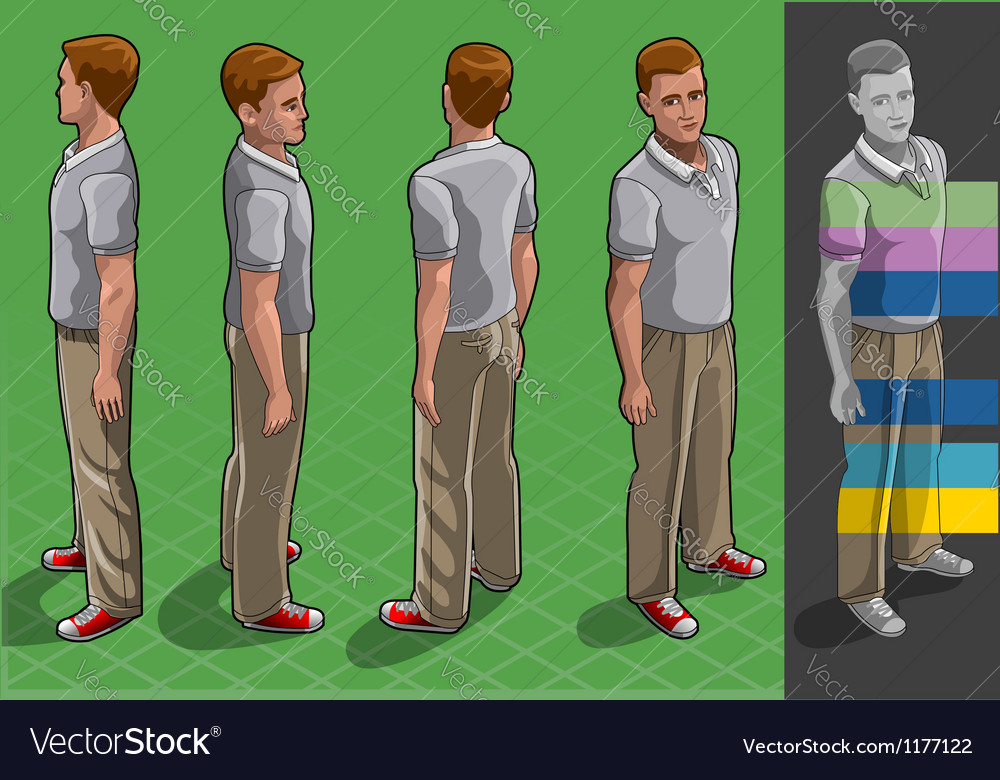 Isometric service man in four position vector | Price: 5 Credit (USD $5)