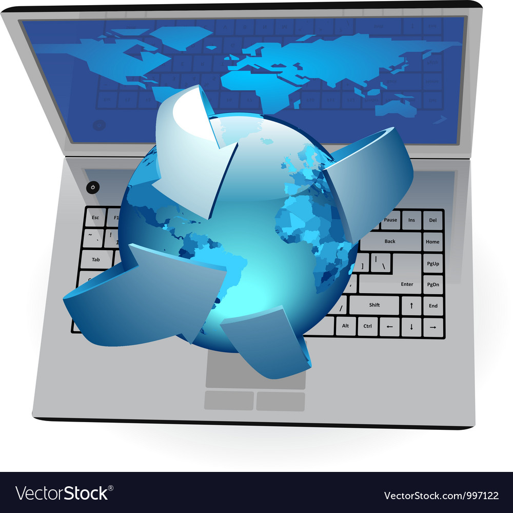 Laptop and globe vector | Price: 1 Credit (USD $1)