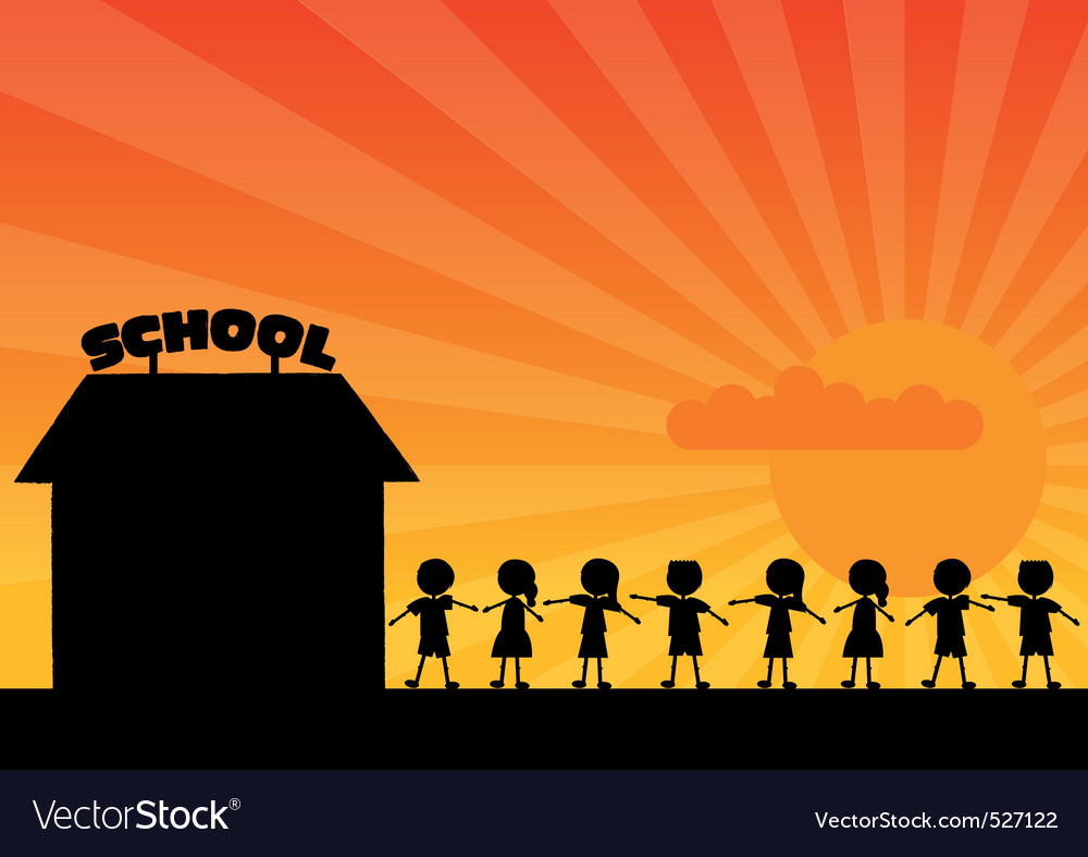 School woth children vector | Price: 1 Credit (USD $1)