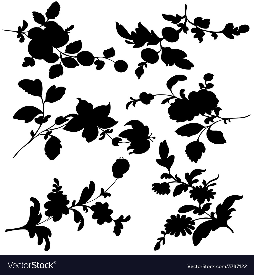 Silhouette black flowers vector | Price: 1 Credit (USD $1)
