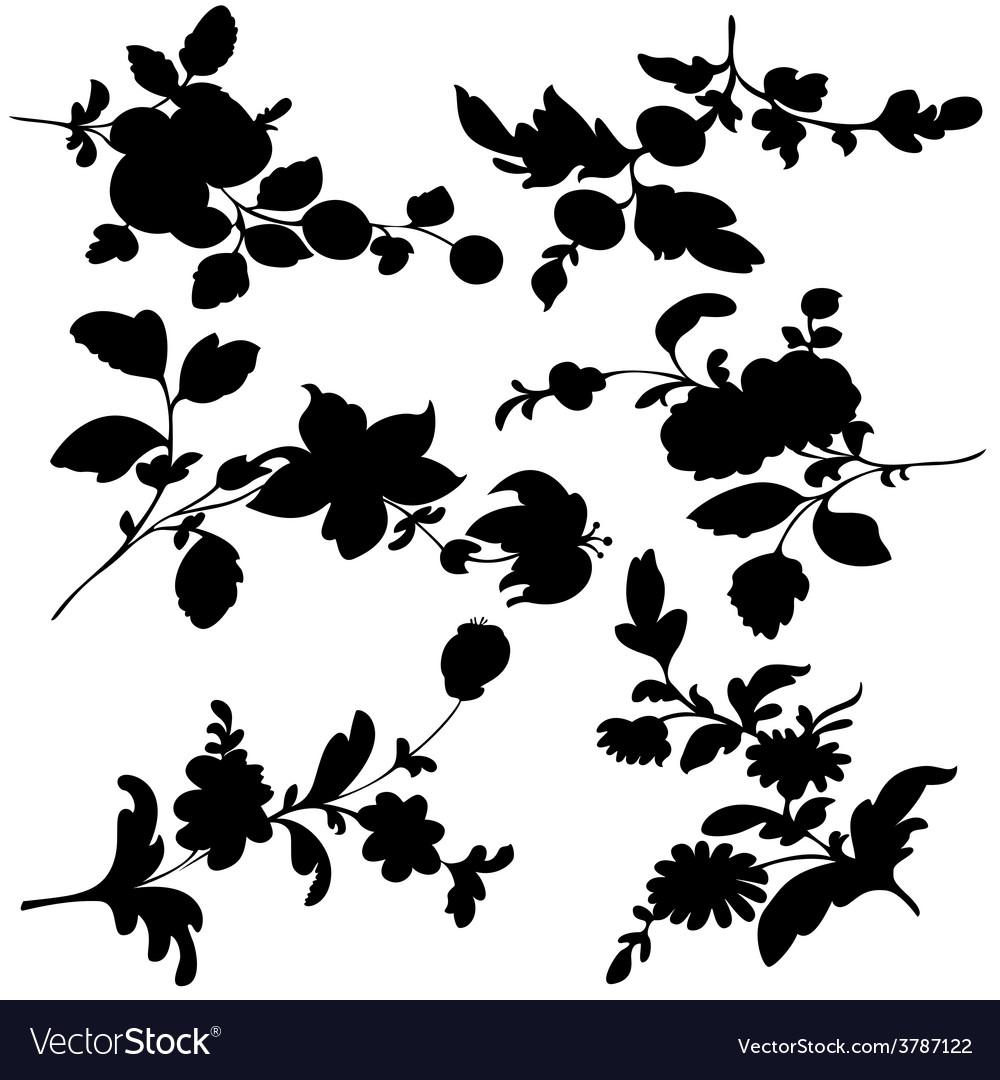 Silhouette black flowers vector | Price: 1 Credit (USD $1)