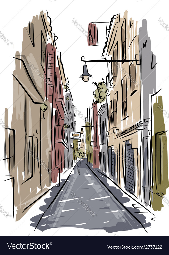 Sketch of old spanish street for your design vector | Price: 1 Credit (USD $1)