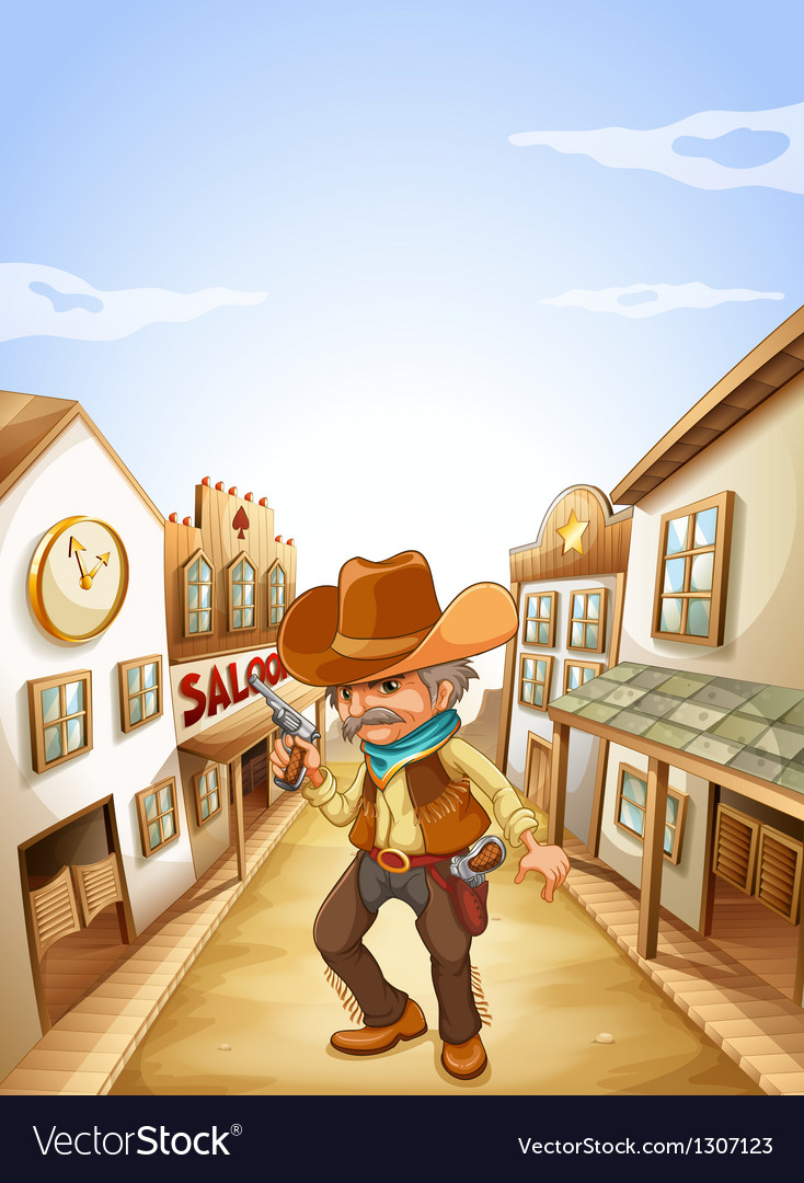 An old man holding a gun near the saloon vector | Price: 1 Credit (USD $1)