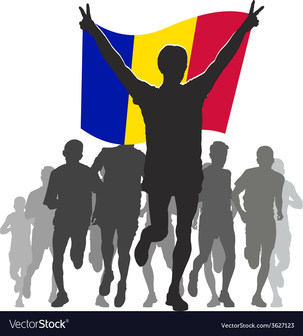 Athlete with the andorra flag at the finish vector | Price: 1 Credit (USD $1)