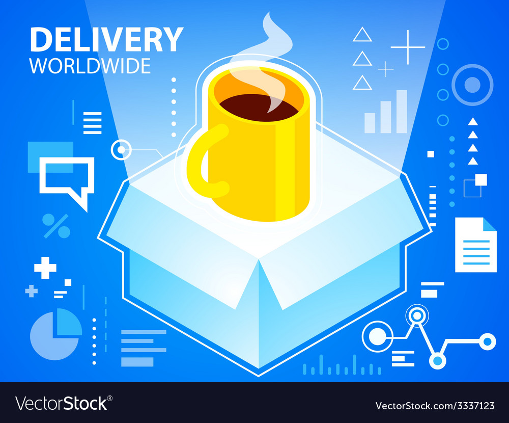 Bright delivery box and coffee on blue backg vector | Price: 3 Credit (USD $3)