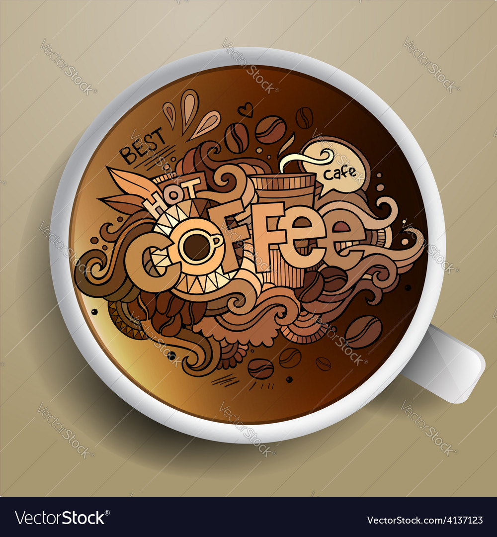 Coffee doodles elements background vector | Price: 1 Credit (USD $1)