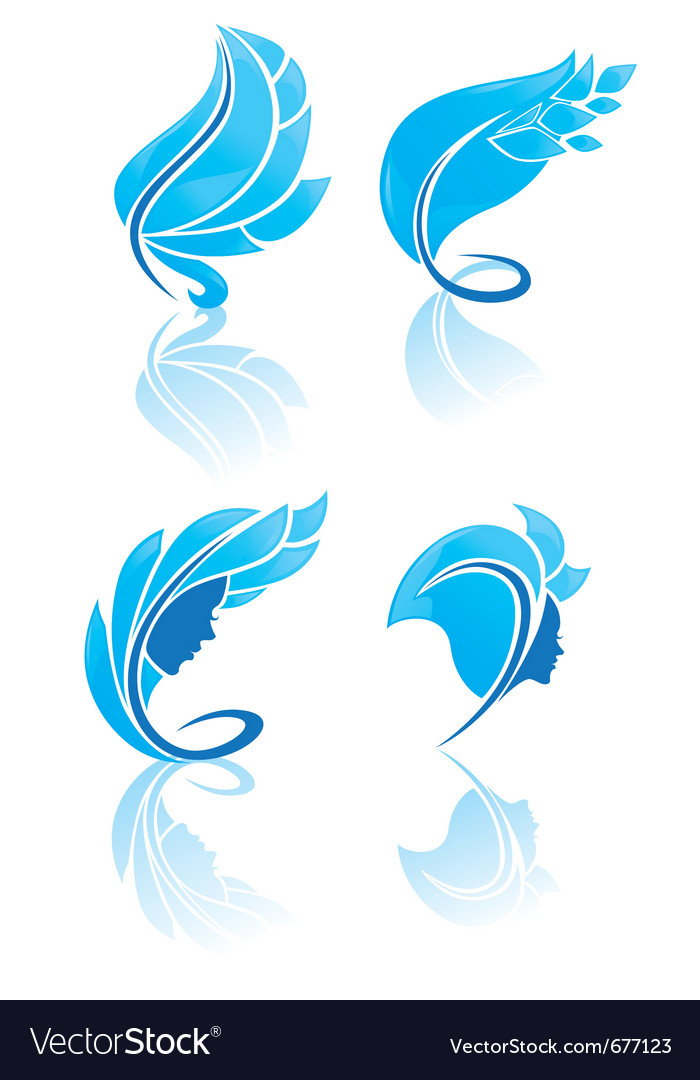 Collection of blue beauty vector | Price: 1 Credit (USD $1)