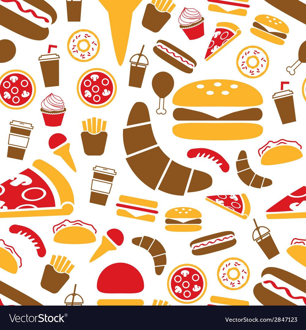Fast food seamless pattern vector | Price: 1 Credit (USD $1)