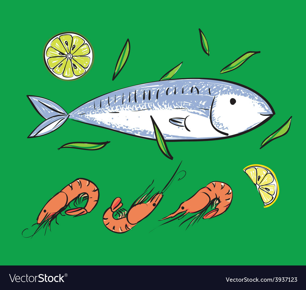 Fish and shrimps on green backgruond vector | Price: 1 Credit (USD $1)