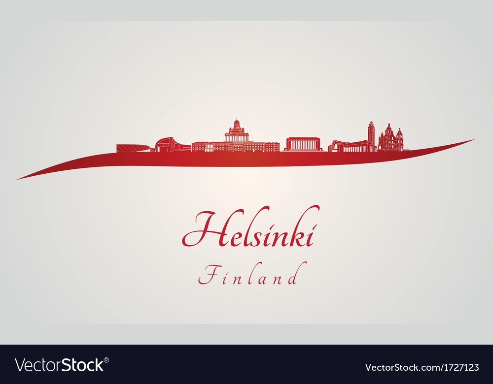Helsinki skyline in red vector | Price: 1 Credit (USD $1)