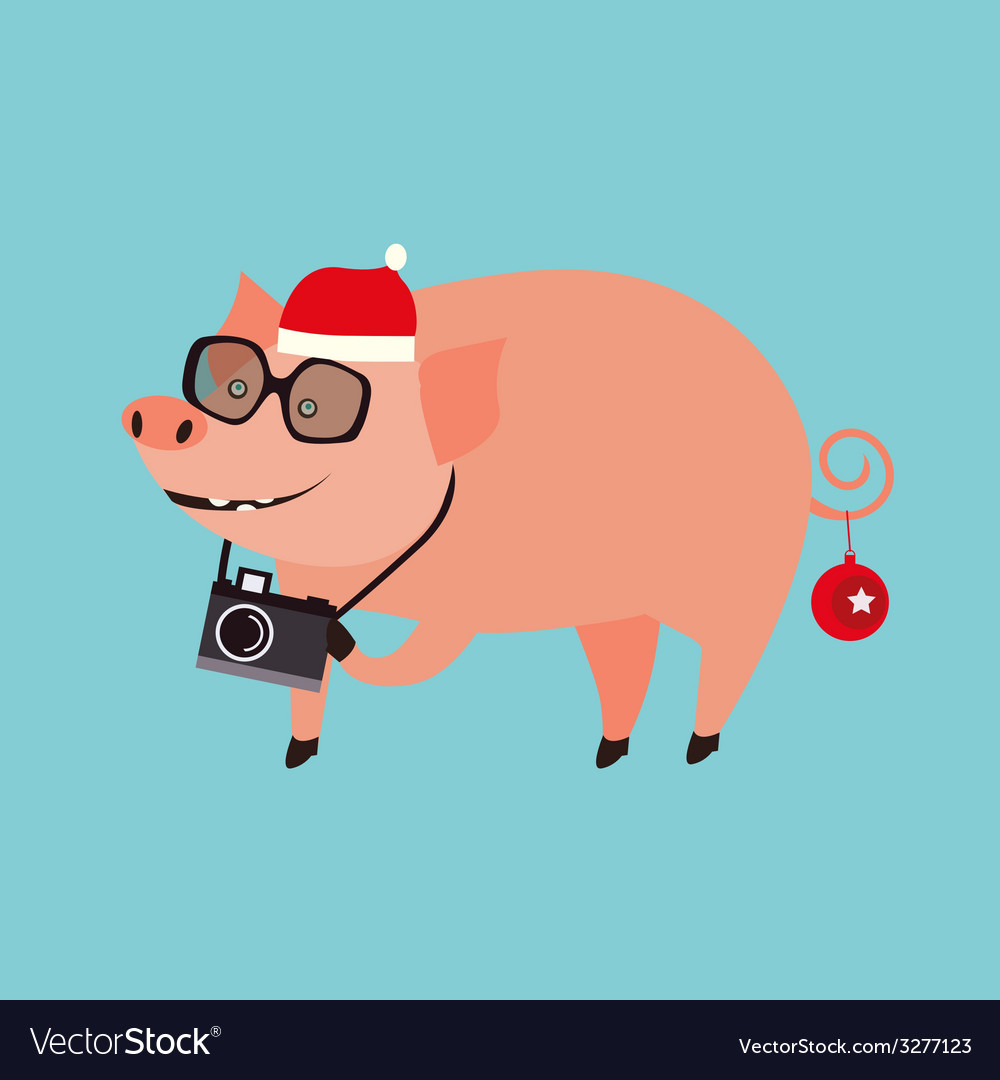 Holiday with pig vector | Price: 1 Credit (USD $1)