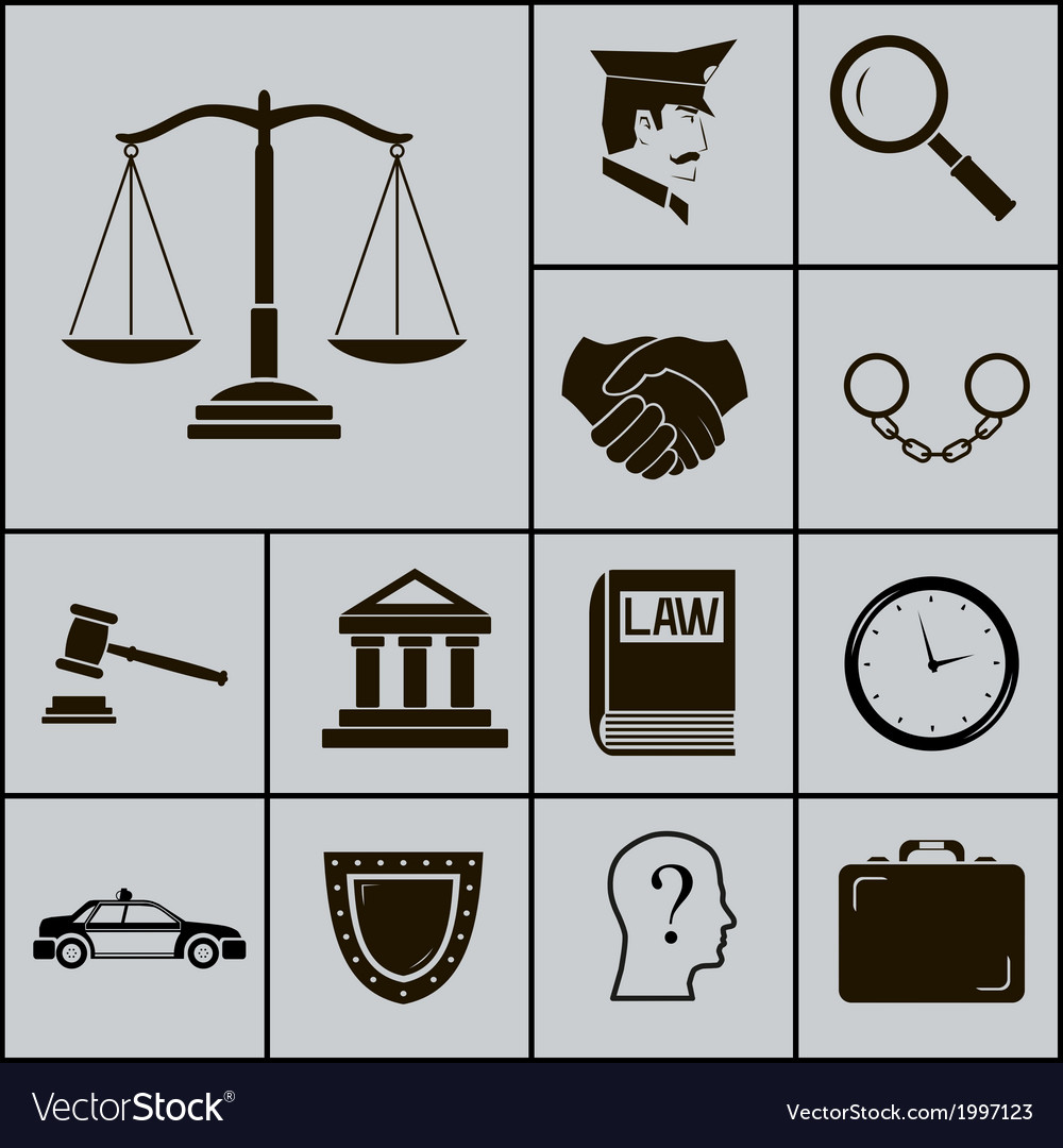 Law justice police icons and symbols silhouette on vector | Price: 1 Credit (USD $1)
