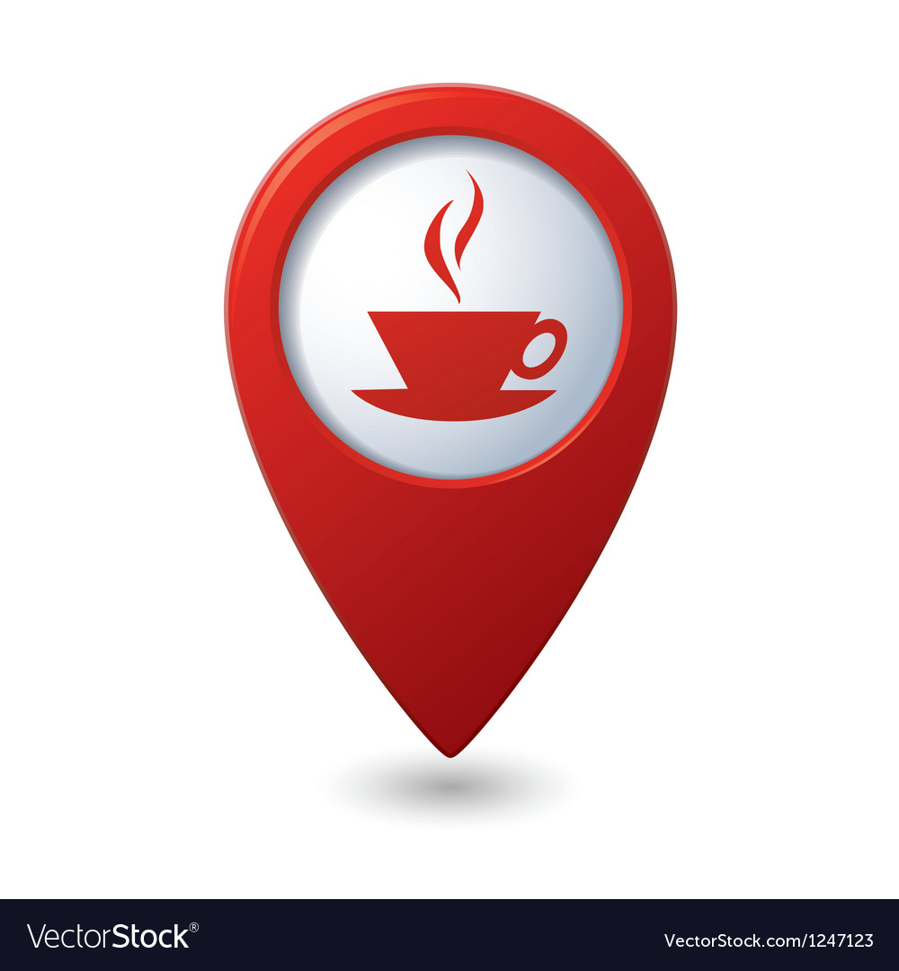 Map pointer with hot coffee cup icon vector | Price: 1 Credit (USD $1)