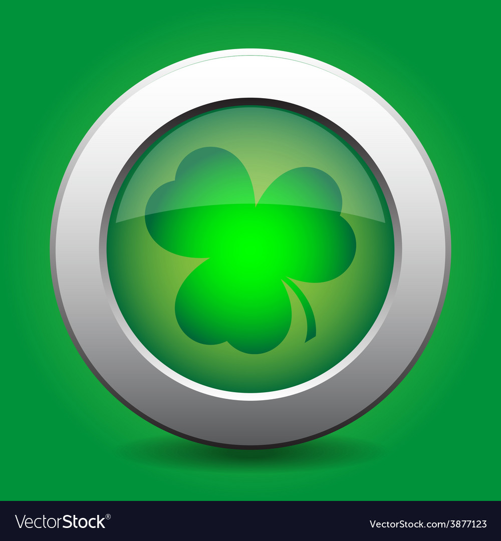 Metal button with the green shamrock vector | Price: 1 Credit (USD $1)