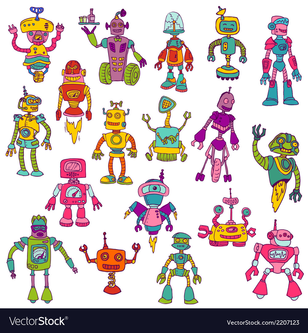 Set of robots - hand drawn doodles vector | Price: 1 Credit (USD $1)