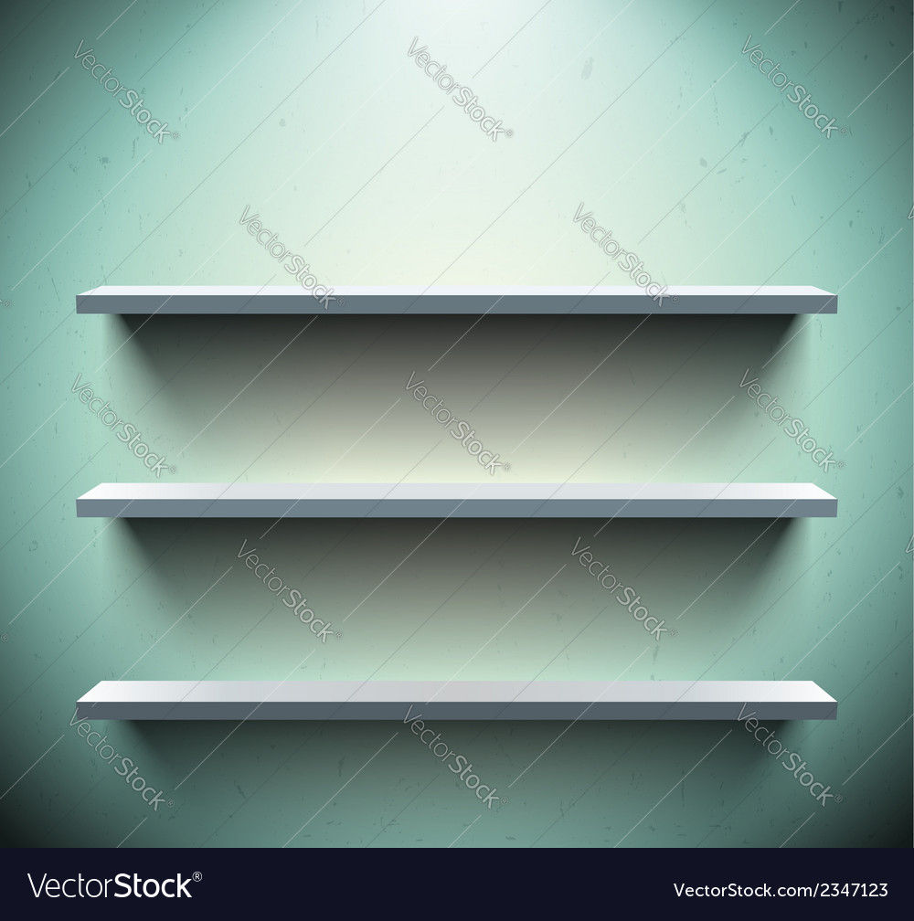 Three shelves on blue wall vector | Price: 1 Credit (USD $1)