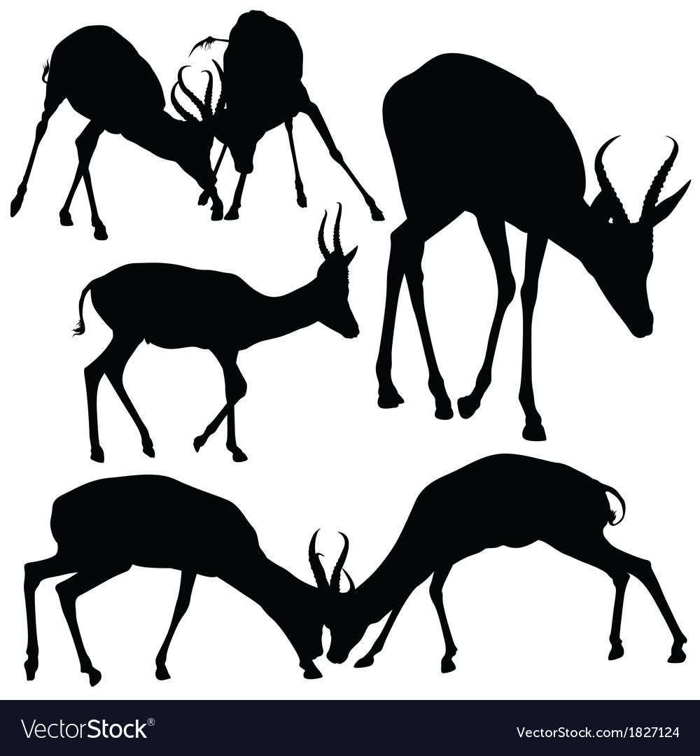 Antelope silhouettes vector | Price: 1 Credit (USD $1)