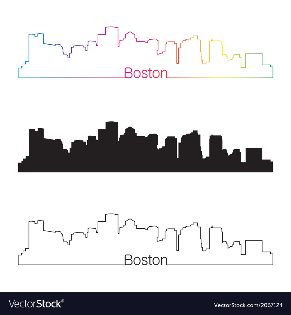 Boston skyline linear style with rainbow vector | Price: 1 Credit (USD $1)