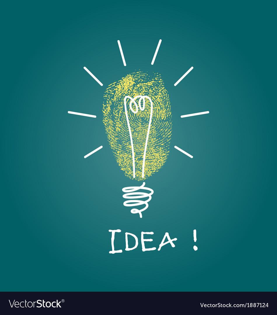 Finger print idea bulb vector | Price: 1 Credit (USD $1)